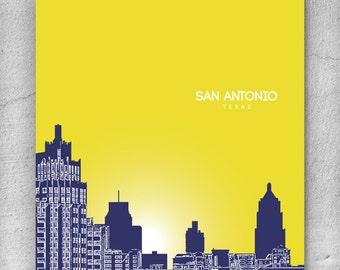 Urban Loft Art Poster / San Antonio Cityscape Poster / Any City or Landmark
