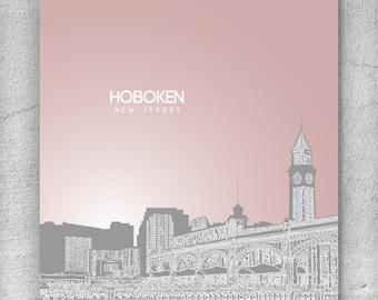 Hoboken Skyline New Jersey Poster / Office Art Poster / Any City or Landmark