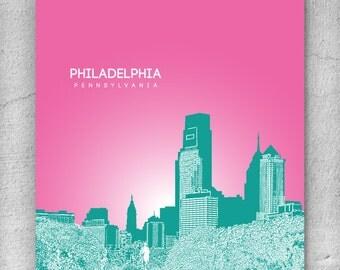 Office Decor Skyline Art Poster / Philadelphia Skyline Version 2 Poster / Any City or Landmark