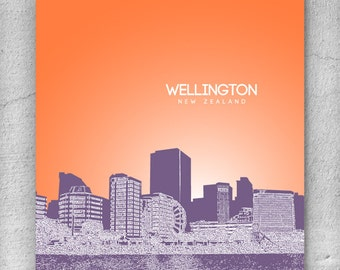 Wellington New Zealand Skyline Poster / Destination Travel Art Poster / Any City or Landmark