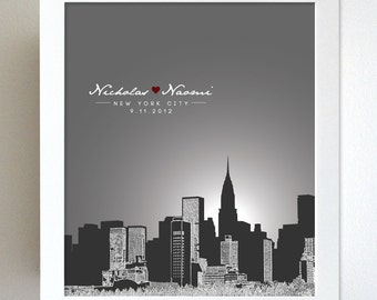 Personalized Anniversary Gift New York City Skyline 8x10 Poster Print Art - Any city available