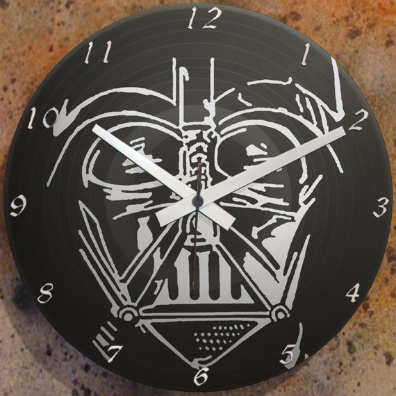 Items similar to darth vader 1 wall clock lp record vinyl graffiti stencil spray paint art on etsy - Darth vader wall clock ...