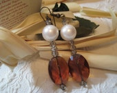 Vintage  Antique Brass Cognac Amber Quartz Swarovski  Crystal Pearls Dangle Earrings Big Bold Chunky