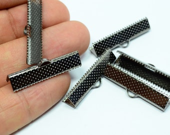 30 Pcs Gunmetal Tone 30 mm Ribbon End Crimps