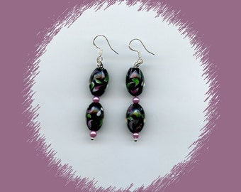 Black Oval Beads With Green And Mauve Designs Earrings