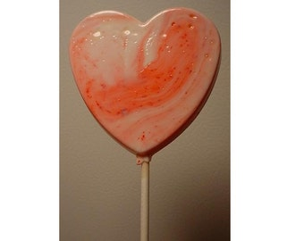 1 dz Hard Candy Large Heart Shaped Lollipop Valentine Party Favors w/ Personalized Back Labels