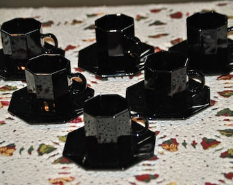 DISCOUNTED - ARCOROC Set of 6 Black  Demitasse Cups and Saucers