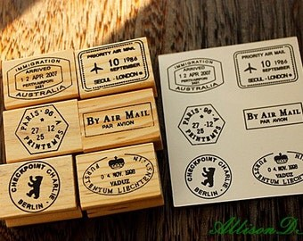 Postmark Stamp Set  -- Wooden Rubber Stamps -- Korean Stamps -- Diary Stamps -- Style E