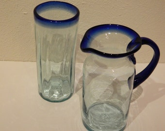 Very Nice Pitcher and Glass Set with Cobalt Trim at the top