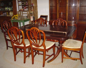Elegant Mid Century 1960 S Drexel Furniture Company Dining Room Set China Hutch,  Table U0026 Six