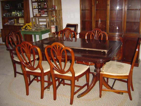 Dining Room Set China Hutch Table Six Chairs By Retroricks