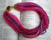 Retro Beaded Pink Purple Choker Vintage Necklace