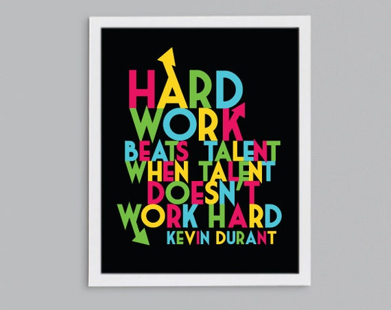 Basketball Gift - Classroom Inspirational Motivational Poster - Hard Work Beats Talent Quote - Kevin Durant Sports Art