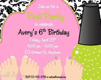 Pedicure Party Invitation Pedicure Birthday Invitation Digital Birthday Invitation
