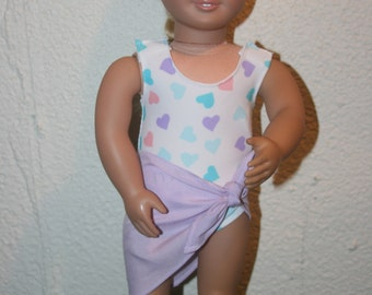 18 Inch Doll Swimsuit, Bathing Suit, 1 piece Bathing Suit with Sarong,