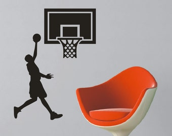 4 Foot Basketball Vinyl Wall Decal - Wall Size Personalized Vinyl Decal - Vinyl Lettering - Boys Room Decor - Teenager Decor- Sports Theme