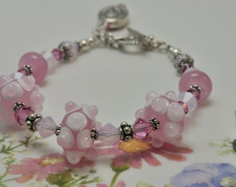 Lampwork Bracelet Pink and White SRA made Glass Beads
