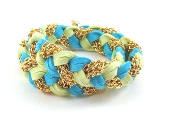 Braided Double Wrap in Turquoise & Neon Green