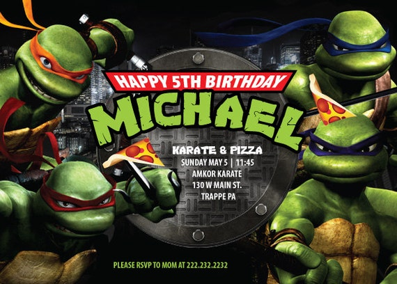 Etsy Ninja Turtle Invitations for amazing invitations template