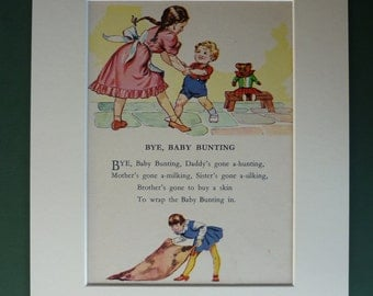 Vintage 1950s Matted Nursery Rhyme Print - Baby Bunting - Song - Poem - Mounted - Kitsch - Retro