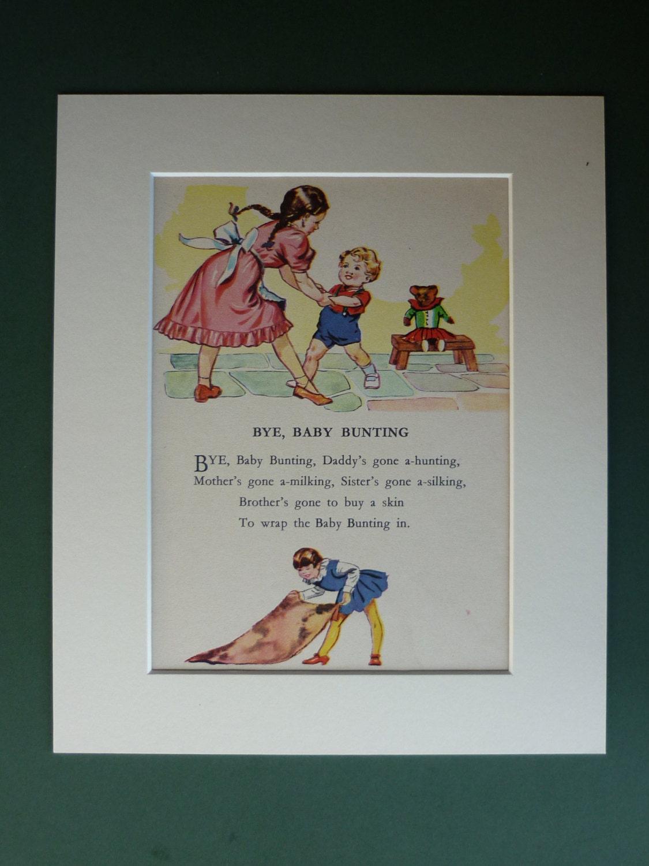 Vintage 1950s Matted Nursery Rhyme Print Baby Bunting Song
