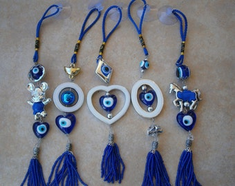 Various GREEK EVIL EYE Rear View Mirror Car Charm with suction cup Turkish nazar mati Mickey Mouse Horse Heart