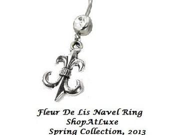 Fleur De Lis Navel Belly Ring