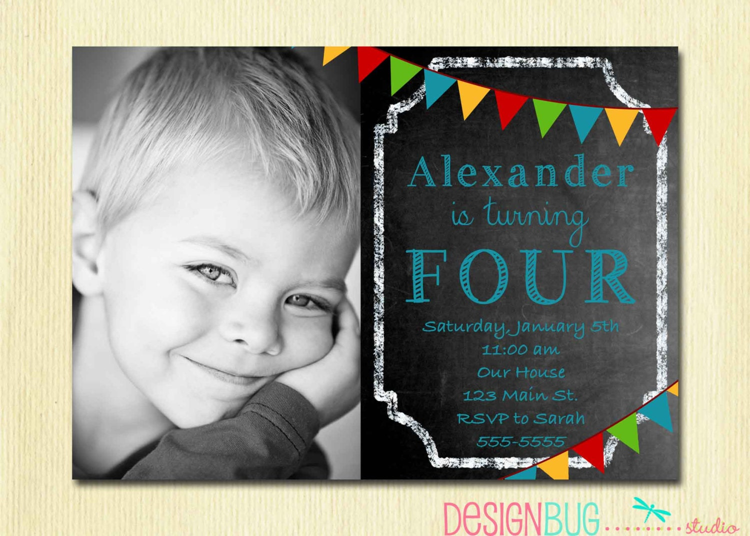 Boys Chalkboard Birthday Invitation 1 2 3 4 5100 year – 3 Year Old Birthday Invitation