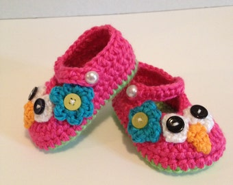 Crochet Baby Booties,  Owl Maryjanes, 0-3 Months