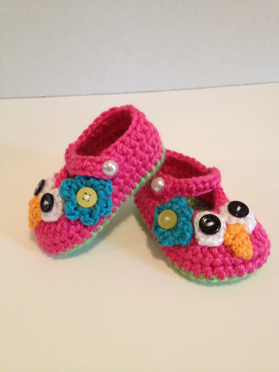 Crochet Owl Baby Booties Pattern : Crochet Baby Booties Owl Maryjanes 0-3 Months