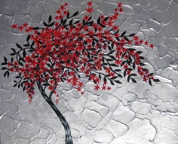Painting Of A Tree In Red Black Silver Gray Grey By SheerJoy