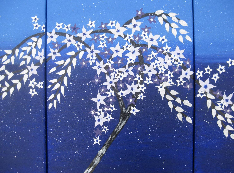 Albero di blu scuro 3 tele pittura fiori di ciliegio for Albero con fiori blu