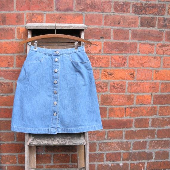 1990s Denim Mini Skirt 90s Does 60s Button Up Skirt