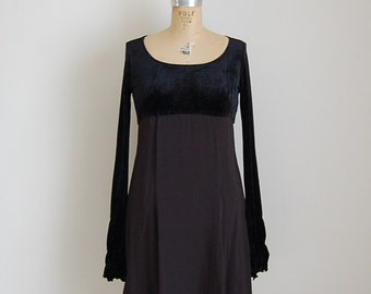 vintage gothic lolita dress / 1970s black baby doll mini dress