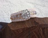 leather wrap bracelet/cuff bracelet/ leather beaded light blue and tan bracelet/ boho wrap bracelet/ earthy boho wrap