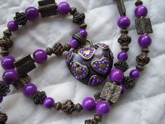 Purple  Necklace with Heart Pendant and matching Earrings