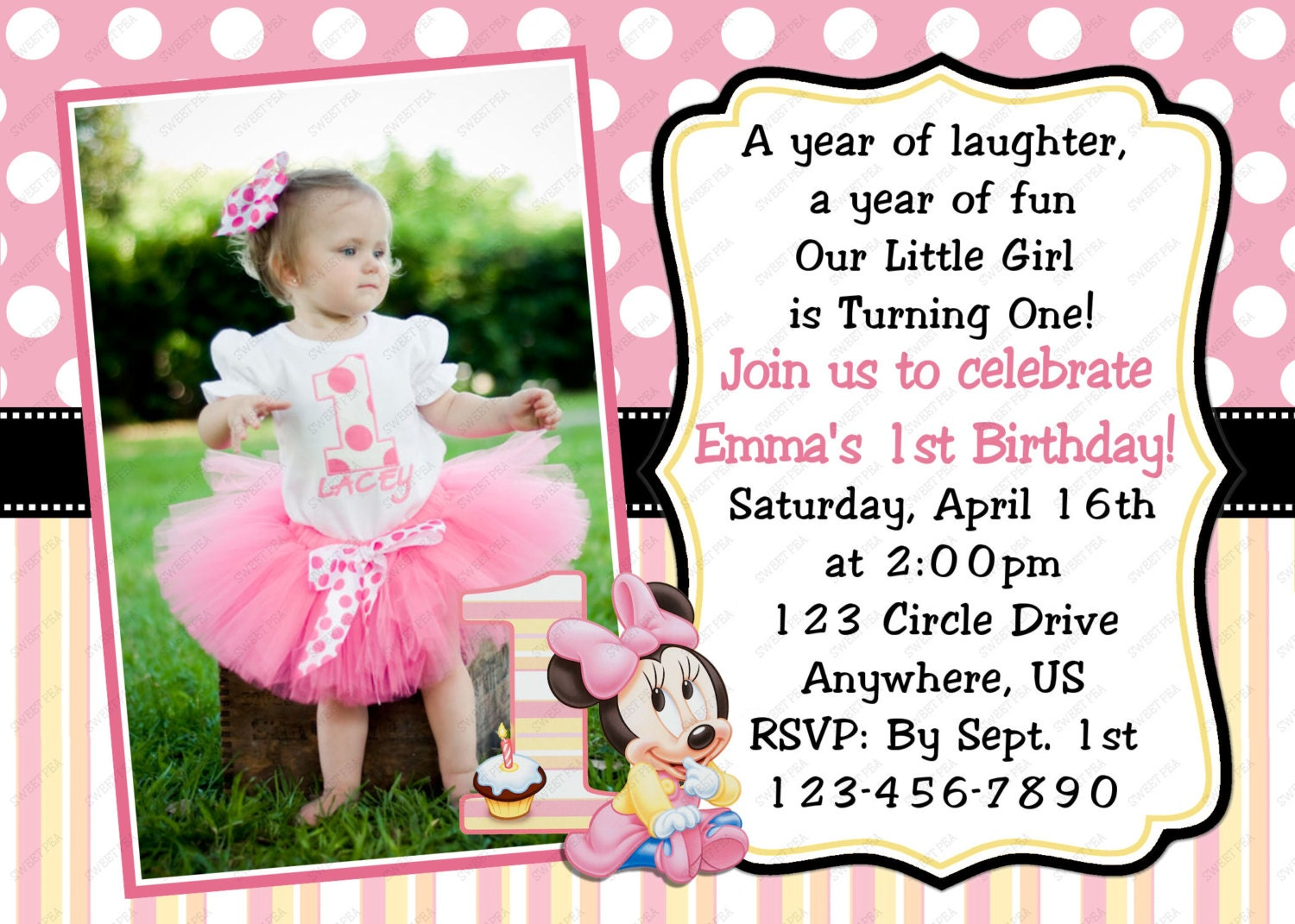Minnie Mouse Baby 1st First Birthday Invitation OR Thank you – One Year Old Birthday Card Sayings