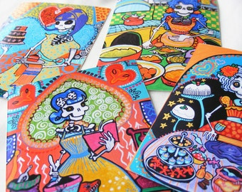 Day of the Dead Art Print Set. 4 Kitchen Catrinas Mexican Folk Art Rockabilly Pin-up Bakery Cooking Chef Gift