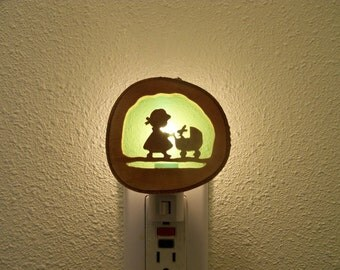 Little girl with baby carriage nightlight