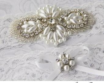 Wedding Garter Set, Bridal Garter, Pearl and Rhinestone Garter, Keepsake and Toss Garter Set, Lace Garter Set, Lace Garters