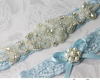 Blue Wedding Garter Set. Blue Lace Garter Set, Lace Wedding Garter, Something Blue, Crystal Garter, Rhinestone Garter, Personalized Garter