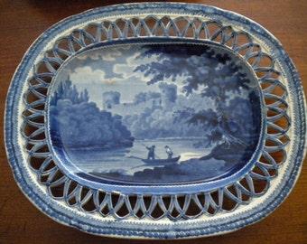 ANTIQUE Pearlware Dark Historical Blue Under Tray - Lattice Edge - c. 1820