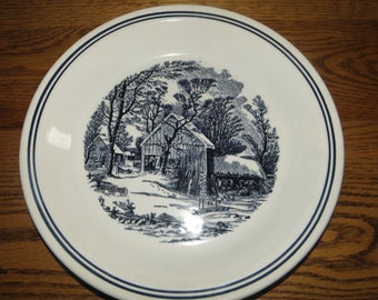 Blue Currier and Ives Pie Pan