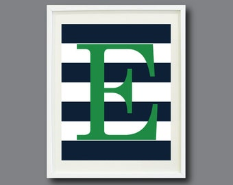 Custom Striped Initial Art Print - 8x10 - Navy Blue & White Stripes with Green Letter OR Choose Your Own Colors-Nursery, Kids Room, Playroom