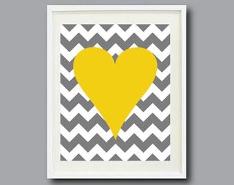 Chevron Stripes Heart Art Print 11x14-Nursery, Kids Room, Playroom, Teen-Mustard Yellow, Grey/Gray, White OR Choose Color-Modern Wall Art