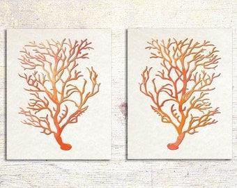 Antique Illustration Tangerine Orange Sea Coral Print Set of Two, Orange Coral Wall Art, Coral Print, Sealife print , Peach Coral Prints