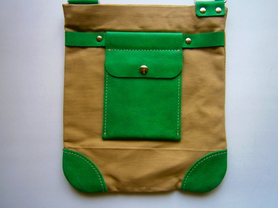 Canvas and Genuine Leather Crossbody bag, Bag for woman, Bag for Man, IPad Bag, Green Leather Bag, Handmade Crossbody Bag