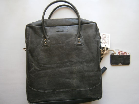 Business 15 inLaptop Messenger Bag and A gift from us: Business Cards Case, Handmade Gray Laptop bag, Genuine Leather office Bag, Casual Bag