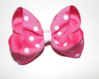 Pink Minnie Mouse Hair Bow, Pink Polka Dot Hair Bow