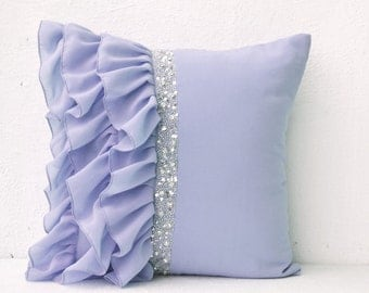 Beautiful Lilac Pillow Cover, Lilac Ruffle Pillow, Lavender Throw Pillows, Cushion  Cover Sequins,
